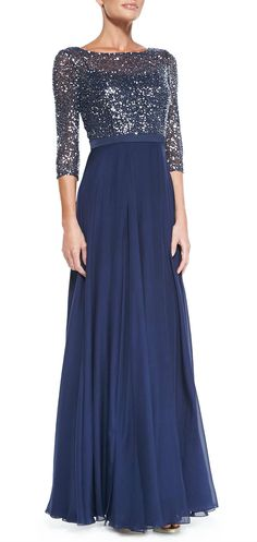 Would really like this is sleeves were short or sleeveless. (VO)  Navy blue evening gown with sequin top by Kay Unger