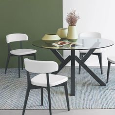 Mikado Table by Connubia Calligaris in Graphite Wood with Siren Chairs