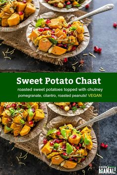 Roasted sweet potatoes topped with chutney, pomegranate seeds, cilantro and crispy sev! This Sweet Potato Chaat makes a very filling and flavorful vegetarian appetizer or snack. #vegan #indianfood