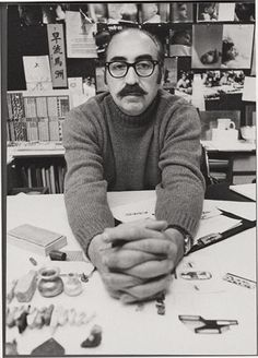 """""""There is nothing glamorous in what I do. I'm a working man. Perhaps I'm luckier than most in that I receive considerable satisfaction from doing useful work which I, and sometimes others, think is good.""""    -Saul Bass (May 8, 1920 – April 25, 1996) was a graphic designer and filmmaker, best known for his design of film posters and motion picture title sequences. (P: In his office, 1970s)"""