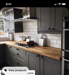 Open Plan Kitchen Living Room, Loft Kitchen, Kitchen Interior, Kitchen Decor, Grey Kitchen Floor, Dark Grey Kitchen Cabinets, Wren Kitchen, Grey Kitchen Designs, Home Kitchens