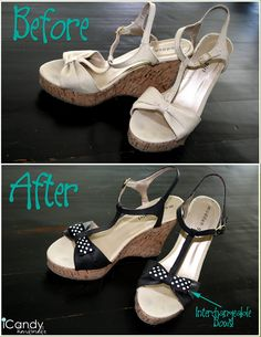 icandy handmade: (iCandy) Shoe Makeover.  The only sewing done here is on the new bows.  She used fabric paint and refashioned the shoes; great idea!