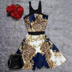 Vestido Rodado Em Neoprene Oriental Blue