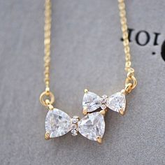Cute Bowknot Pendant Rhinestone Necklace For Lovers from unusual