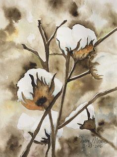 """Cotton Boles"", original watercolor by Sharon Moran Watercolor Projects, Watercolor Techniques, Watercolor Landscape, Watercolor Flowers, Watercolor Paintings, Watercolours, Cotton Painting, Daisy Painting, Anime Comics"