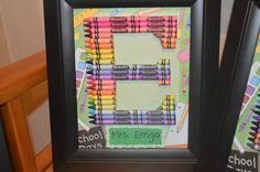 Teacher Gift Personalized Rainbow Crayon Letter Art - Letter E