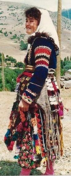 Traditional festive/ceremonial costume from the Alevi-Türkmen villages in the Hafik district (in the North of the Sivas province).  Circa 1980.