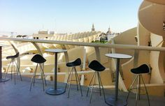 Onda stools from STUA in Metropol, the wold's biggest wooden structure in Seville.