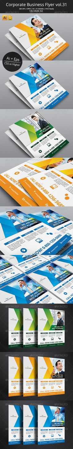 Corporate Business Flyer vol.31  #GraphicRiver         This is professional Illustrator flyers perfect for corporate business that needs clean, professional, modern flyers template design.  	 Easy to edit, you can change blue accent color throughout the whole document at once, text and images placed on separate layers, text aligned to grid. Resolution 300dpi / CMYK color / bleeds 3mm. Print dimensions: International A4 (210×297mm / 8.2×11.7in). Also works great as a professional online PDF…