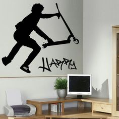 Extra Large Personalised Stunt Scooter Wall by Largewallstickers, £16.49