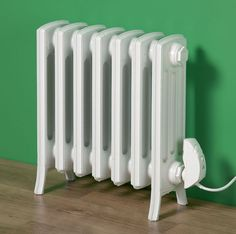 Electric cast iron radiator, Etonian, in White RAL 9010.