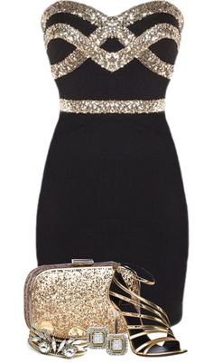 """New Year's Eve...Black, Silver and Gold"" by jackie22 on Polyvore"