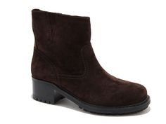 Car Shoe brown suede leather low heel booties shoes - Italian Boutique €88