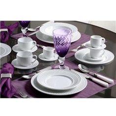 Aparelho de Jantar Porto Brasil Roma Ravenna Branco 61091 - 42 Peças - Até 8 Pessoas no Pontofrio.com