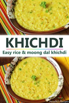 Khichdi recipe - Khichdi is a one pot comforting Indian dish made with mung len. - Khichdi recipe – Khichdi is a one pot comforting Indian dish made with mung lentils, rice and sp - Veg Recipes, Vegetarian Recipes, Healthy Recipes, Methi Recipes, Indian Dessert Recipes, Oats Recipes Indian, Indian Baby Food Recipes, North Indian Recipes, Lentil Dishes