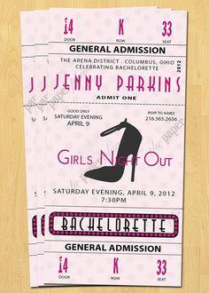 Printable Bachelorette Party Invitation Oscar Movie Ticket 21st 30th 40th Birthday
