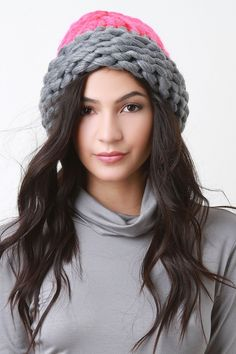 Two-Tone Oversized Knit #Beanie #FreeShipping On Qualifying Orders