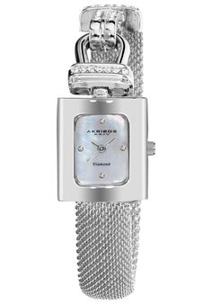 Price:$84.99 #watches #AkribosXXIV AK510SS, This exceptional timepiece from Akribos XXIV showcases a mother of pearl dial with four genuine diamonds. This #womenswatch offers a rose-tone metal case with crystals accents on the bezel and on the mesh bracelet.