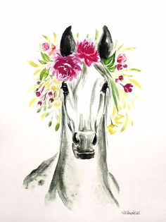 Printed on card stock. Watercolor Horse, Watercolor Animals, Watercolor Print, Watercolor Paintings, Crown Painting, Horse Flowers, Horse Print, Equine Art, Animal Drawings
