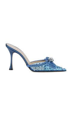 Shop the Blue Double-Bow Crystal-Embellished PVC Mules by Mach & Mach and more new designer fashion on Moda Operandi. Fall Fashion Trends, Autumn Fashion, Fall Accessories, Neck Piece, Designing Women, Calf Leather, Heeled Mules, Calves, Stiletto Heels
