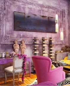 pink and yellow living room / interior design