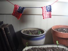 American Flag Garland - knit by Kristen Cooper