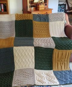 Free Knitting Pattern for Norah Gaughan Sampler Afghan - Norah's Vintage Afghan -The amazing designer Norah Gaughan designed this sampler afghan made up of 20 blocks worked in 5 beautiful colors. Pictured project by knotkit1purl1
