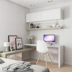 Trendy home office quarto feminino simples Ideas Apartment Interior Design, Home Office Design, Home Office Decor, House Design, Home Decor, Office Ideas, Office Table, Interior Ideas, Home Bedroom