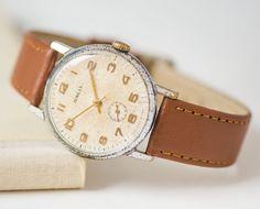 Dress watch Pobeda mid century men's watch minimalist by SovietEra