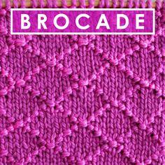 Simple and Elegant! Diamond Brocade Knit Stitch Pattern by Studio Knit #StudioKnit #KnittingStitches #knitstitchpattern #freepattern