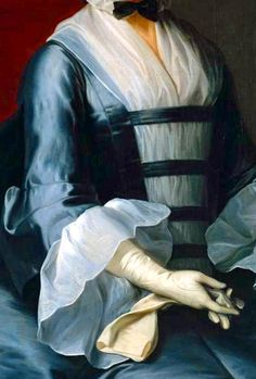 Bodice, Fichu, sleeve and glove detail. Mrs Sarah Ingram c.1750-5 by Thomas Hudson.