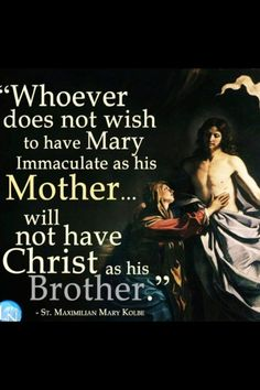 Whoever does not wish to have Mary Immaculate as his MOTHER will not have CHRIST as his BROTHER ...