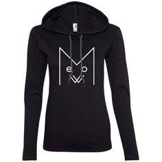 Meow Ladies LS T-Shirt Hoodie, White Design