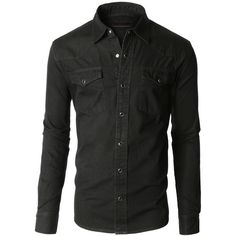 Mens Classic Long Sleeve Button Down Denim Western Shirt ($25) ❤ liked on Polyvore featuring mens, men's clothing, men's shirts et men's casual shirts