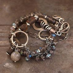 Duo  Two bracelets with labradorite and Baltic amber  by ewalompe, $150.00