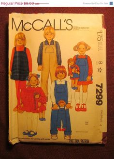 SALE Uncut 1980's McCall's Sewing Pattern 7299 by EarthToMarrs, $5.60