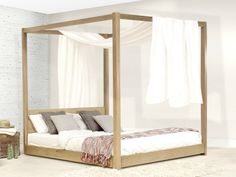 Cama de madera con dosel LOW FOUR POSTER BED by Get Laid Beds