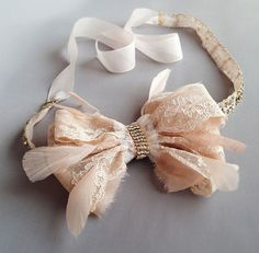 Blush Antique Lace Rhinestone Bow and Feather