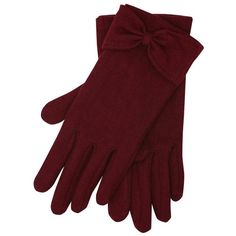 M&Co Bow Detail Fleece Gloves ($9.28) ❤ liked on Polyvore featuring accessories, gloves, wine red, fleece gloves, m&co, red gloves and bow gloves