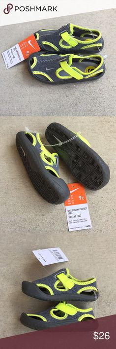 """(NEW) Nike Sunray Protect Water/Swim Shoes Brand new. Tag attached. Unisex. Velcro closure.  Size: 9 kids Color: """"Dark Grey/Wolf Grey"""" on tag & fluorescent yellow accents ☑️ Smoke/pet free ☑️ No trades - don't ask ☑️ Item is available for purchase - no need to ask ☑️ Price firm. No offers.  ☑️ Ships out same day from Southern CA.   THANKS FOR LOOKING!! PLEASE BE SURE TO CHECK OUT ALL MY OTHER CLOSET ITEMS!! 💕💕💕 Nike Shoes Water Shoes"""