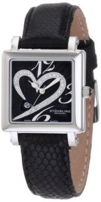f3730863e2c Relógio Stuhrling Original Women s 253.11151 Amour Aphrodite Courtly  Diamond Swiss Quartz Black Leather Strap Watch Relógios