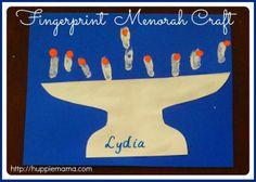 Fingerprint Menorah Chanukah / Hanukkah Craft for kids