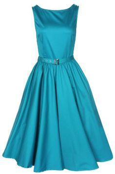 CLASSY AUDREY HEPBURN STYLE VINTAGE TEAL GREEN 50s ROCKABILLY SWING EVENING DRESS: Amazon.co.uk: Clothing