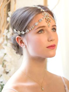Gold Swarovski Crystal Headpiece, Art Deco Bridal 1920s Headpiece Bohemian Accessories for Wedding, Bridal Hair