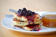 Blueberry pancakes with warm maple butter