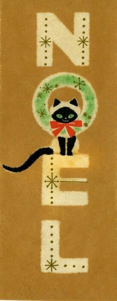 Kitty cat Christmas card/uploaded by Liz W/saved from Pamela Savarese saved to Vintage Christmas