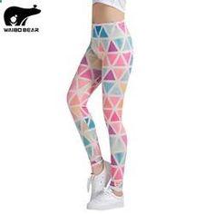 Colorful Triangles Printed Women Leggings Pants Fitness High Elastic Bodybuilding Trouser WAIBO BEAR