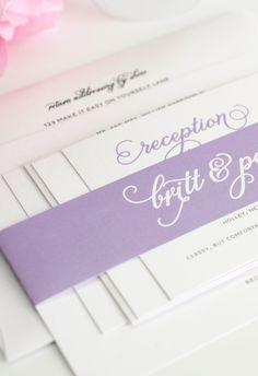 Purple wedding invitations with romantic names