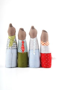 Home decor - Soft sculpture, four boys dolls, family portrait, African family , in gray ,blue ,mint ,green and red - handmade eco dolls