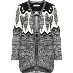 Zizzi Black / White Plus Size Patterned cardigan (£40) ❤ liked on Polyvore featuring tops, cardigans, black, plus size, white top, plus size white cardigan, loose cardigan, long sleeve open front cardigan and white long sleeve top